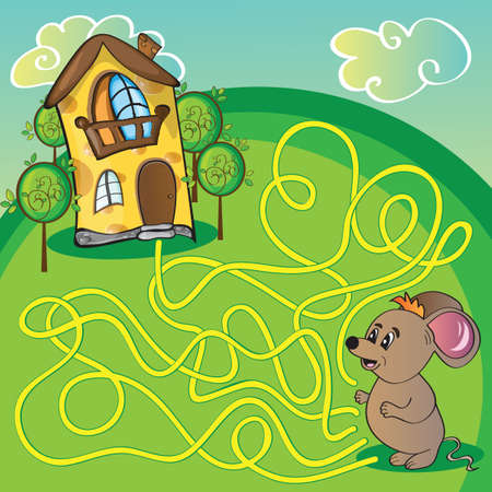 maze game: Maze with mouse and cheese  house - funny vector illustration