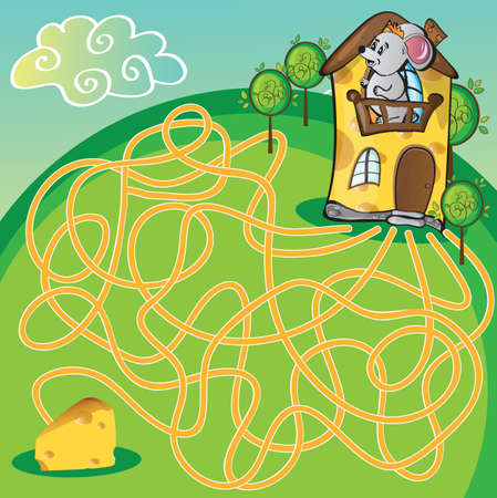Maze with mouse and cheese  house - funny vector illustration