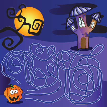 Halloween maze for kids with a solution Vector