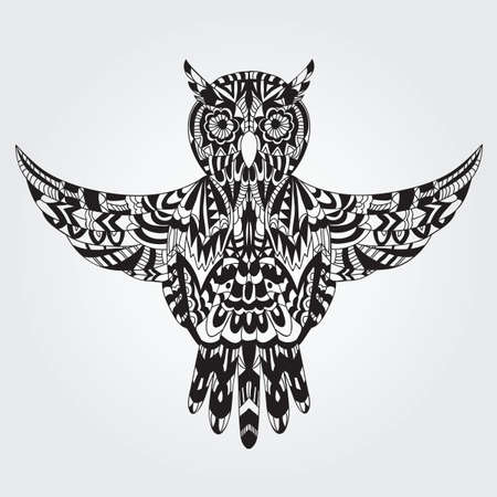 Ornamental hand drawn owl -  Vector illustration - doodle style Vector