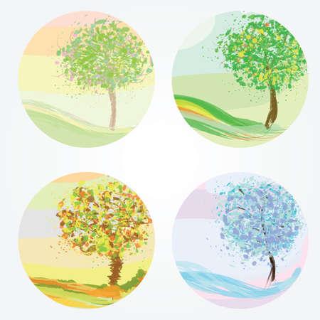 Four seasons - spring, summer, autumn, winter. Vector illustration for your design  イラスト・ベクター素材