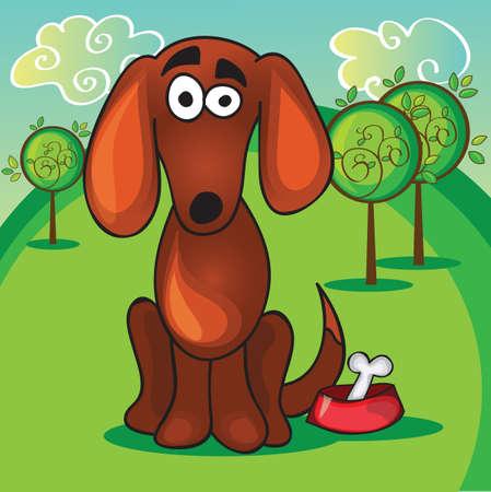 cute cartoon dog: Cute cartoon dog with bone