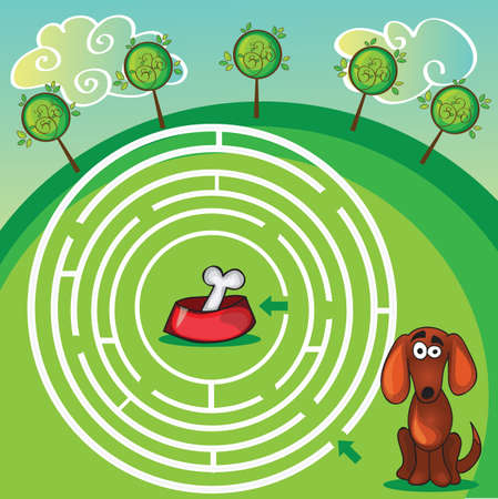 Cute Dogs Maze Game -help dog find his  bone Vector