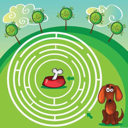 Niedliche Hunde Maze Game -help Hund finden seine Knochen Standard-Bild - 31965354