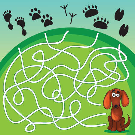 Cute Dogs Game -help dog find his  footprint Vector