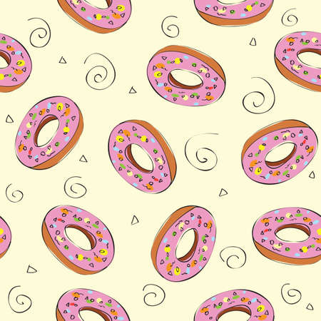 Seamless pattern with donuts - background- vector illustration Vector