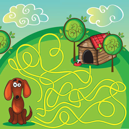 Cartoon Vector Illustration of Education Maze or Labyrinth Game for Preschool Children with Funny Dog and Doghouse  Vector