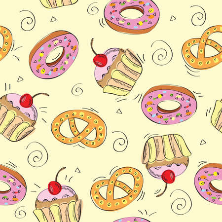 Seamless pattern background - sweet cakes - vector illustration Vector