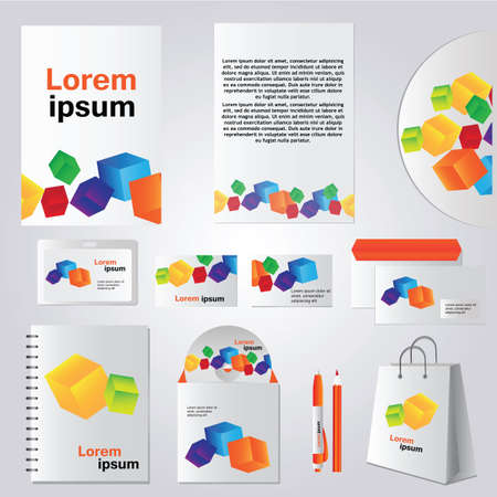 business company: Architectural corporate identity template with cube element - Vector company style for brandbook