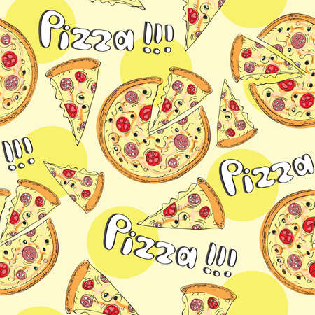 Doodle style pizza slice seamless vector background Vector