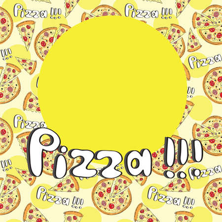 Doodle style pizza  seamless cover fore menu - vector background Illustration