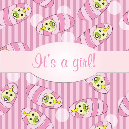 Baby girls seamless pattern background - vector illustration for card - it is a girl Vector