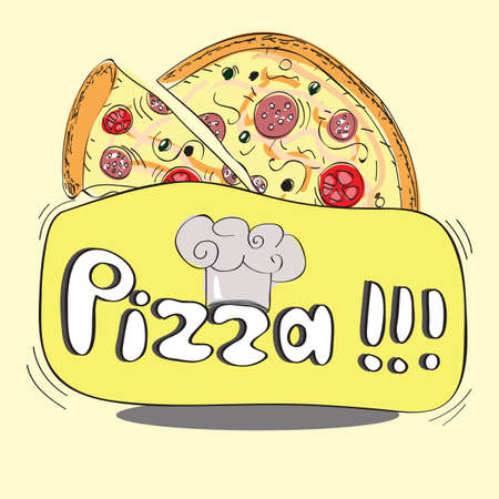 Pizza design banner - funny hand-drawn  Vector