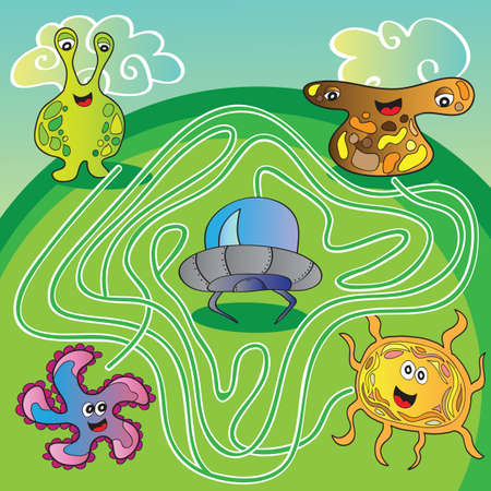 Funny UFO monster maze for kids - vector illustration
