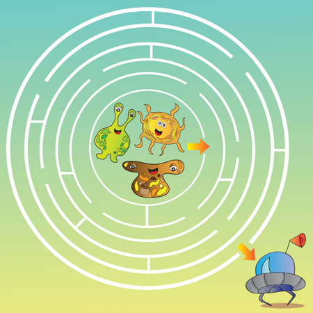 Funny UFO monster maze for kids - vector illustration Vector