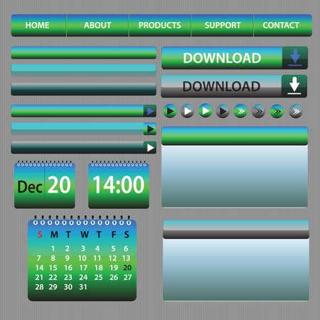 Web Elements Design Blue and Green - vector illustration - layout set