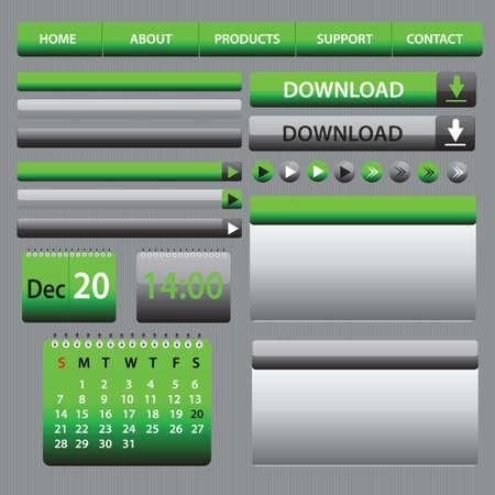 Web Elements Design Gray Green  Vector