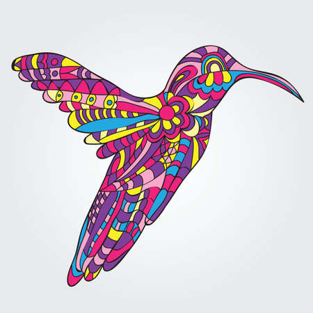 Vector card with Hummingbird - doodle pattern style  イラスト・ベクター素材