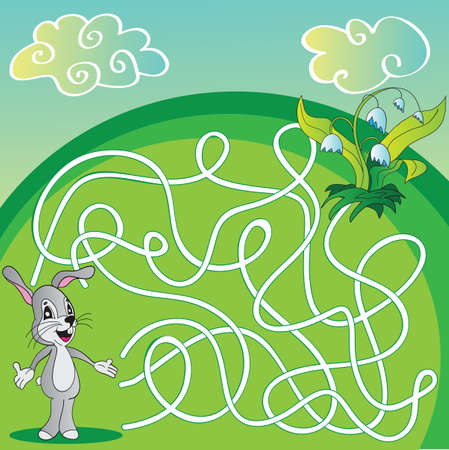 Vector Maze, Labyrinth Game for Children with hare and flowers