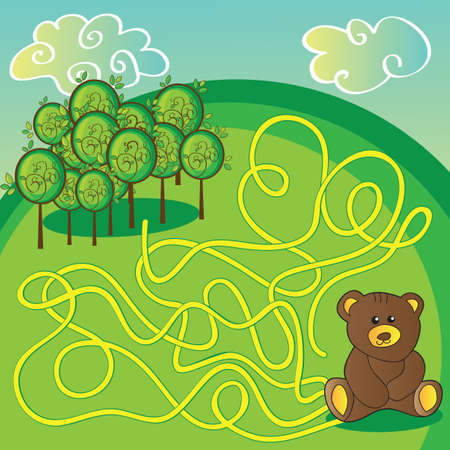 brown bear: Maze game or activity page Help the bear to choose right way to forest - vector