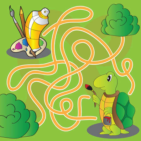 Maze for children - help the turtle get to paints and brushes for painting - vector Vector