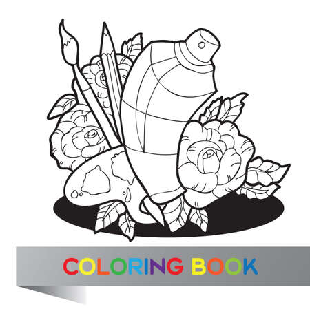 Palette with paint, brushes and spray paint in roses - Coloring book - vector Vector