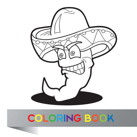 Coloring book with Mexican pepper  - vector illustration Vector