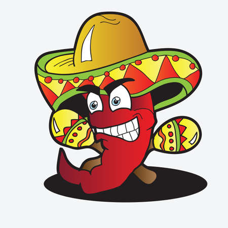 Illustration of a Chili Character  pepper with a Pair of Maracas Vector