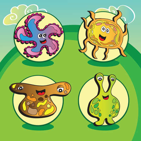 Funny vector characters on green dackground - Set of four elements Vector