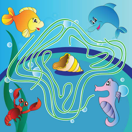 Maze game for kids - underwater life  向量圖像