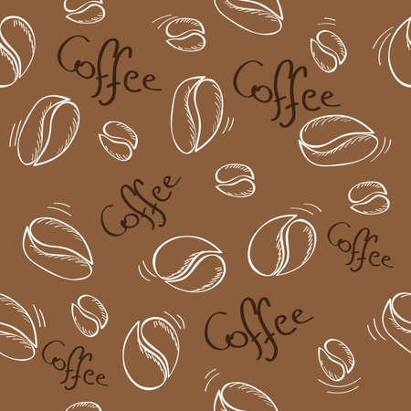 hand-drawn coffee beans seamless pattern - vector illustration Vector
