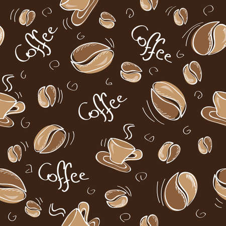 Seamless background with coffee beans and cups - Vector illustration Vector