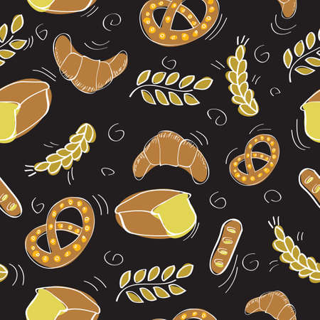 Seamless pattern with bakery products - vector illustration 向量圖像