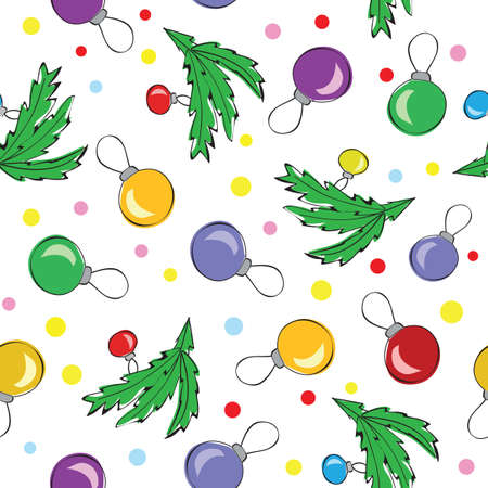Christmas decorations, balls, seamless pattern - vector Vector