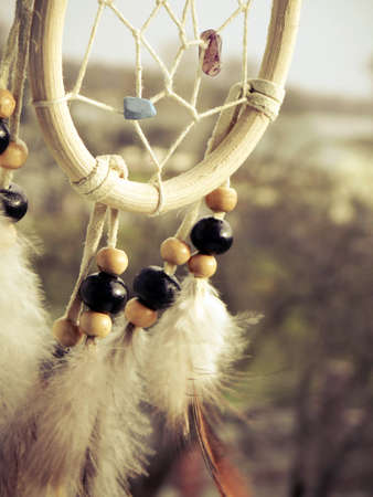 Wooden Dreamcatcher with feathers and beads  photo