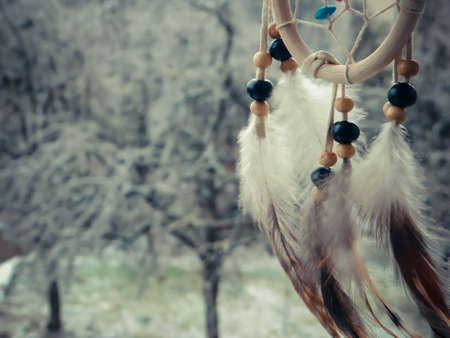 Photo of dream catcher on a winter forest