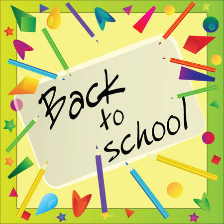 Frame made with color pencils - back to school vector background Vector