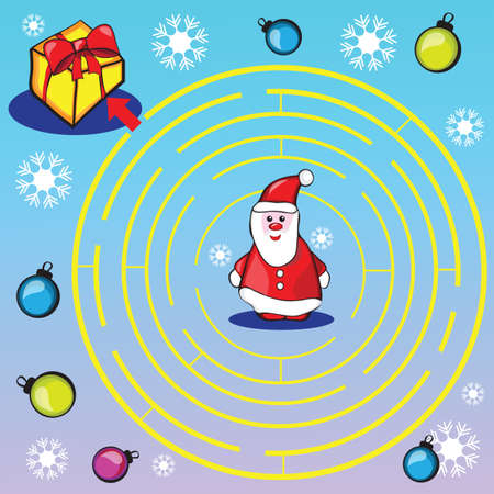 right of way: Maze game or activity page for kids - Help Santa to choose the right way to gifts