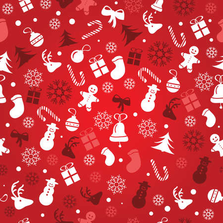 Christmas background, seamless tiling, great choice for wrapping paper pattern - vector 向量圖像
