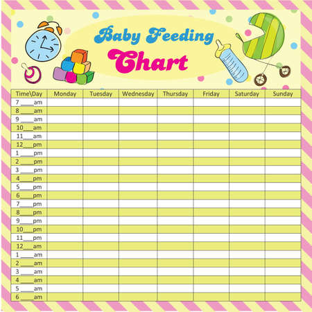 Baby feeding schedule - baby chart for moms - colorful vector illustration Ilustração