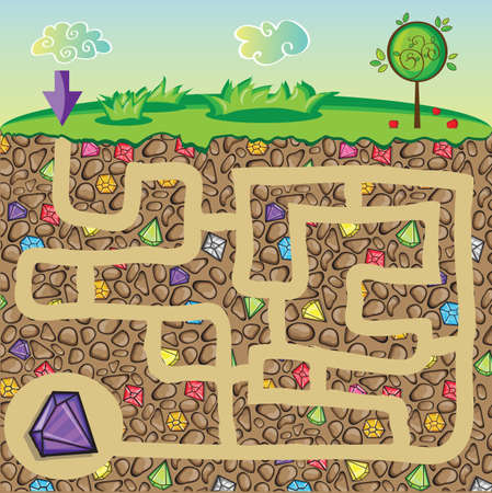 diamond stones: Maze for children - nature, stones and precious stones under the ground - get the path to the diamond