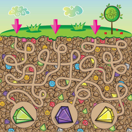 Maze for children - nature, stones and precious stones under the ground - get the path to the diamond