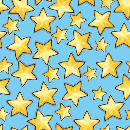 Cartoon stars against blue background. Seamless pattern