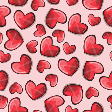 Seamless pattern with stylized hearts - vector Vector
