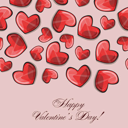 Valentines composition of the hearts. Vector illustration