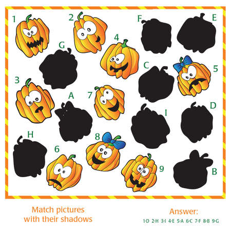 aster: Visual puzzle - Match the pictures to their shadows. Answer included.
