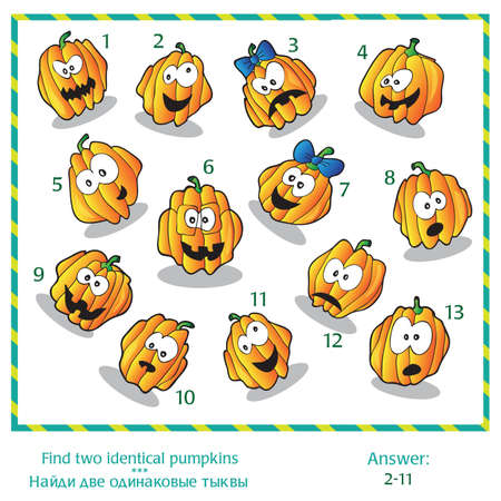 identical: Halloween visual puzzle - Find two identical images of pumpkins. Answer included.