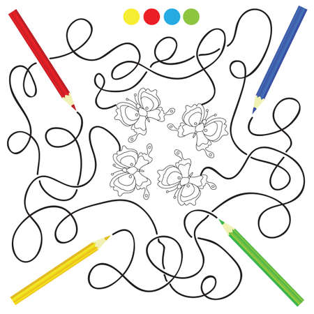 homeschooling: maze game and coloring activity page for kids: Help the pencils to get to the picture