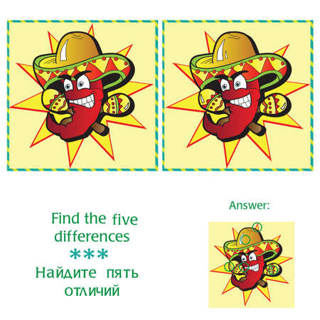 Find 5 differences  - puzzle for kids - vector Vector