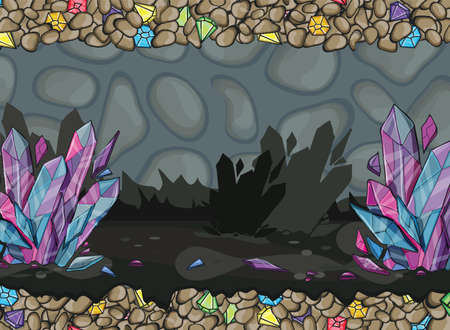 underground: Cartoon of underground cave with gems and the crystals